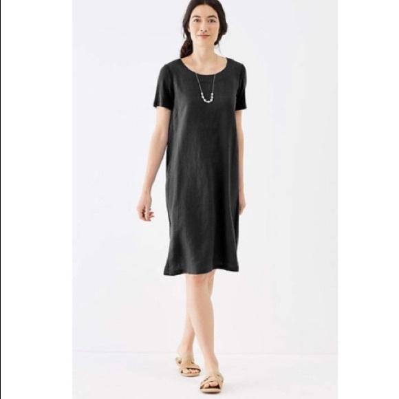 NWT J. Jill Pure linen black panel dress